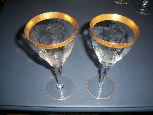 2 - Vintage Tiffin Franciscan Water Wine Goblet Etched Gold Milton Band 15042-3