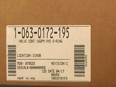 Raven 1-063-0172-195 Valve Cont. 16gpm Hydraulic Control Valve O-ring Fittings