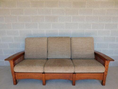 Custom Amish Made Mission Oak Arts & Crafts Prairie Style Upholstered Sofa