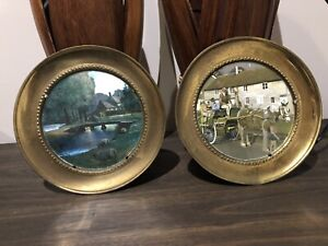 2 x matching Antique brass pictures. Clydesdale horse FREE DELIVERY