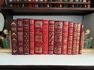 13 Leather Bound Books Lot. Easton Press, Franklin Library, ICL. RED Decor
