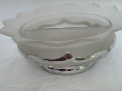 ART DECO FARBER BROTHERS CHROME HOLDER DIVIDED FROSTED GLASS DISH INSERT PAT.