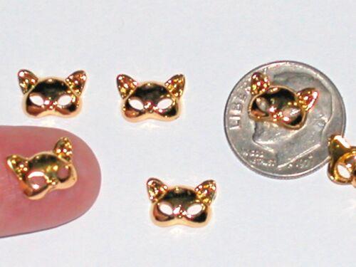 2 Miniature dollhouse Little Kitty Cat Ears Mask floating charm animal metal 8mm