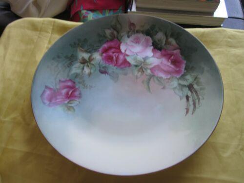 "Antique Hand Painted Roses Bavaria Porcelain Plate 11.75"""