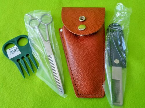 NEW Mane & Tail Trim KIT~STAINLESS Scissors Thin Shears~Strip Comb~Leather CASE