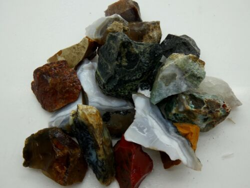 AGATE AND JASPER MIX Gemstone Rough Rocks - 5 Lb Lot - Tumbling - FREE SHIPPING