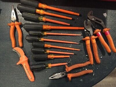 Lot Of 15 Klein Insulated Tools Pliers Cutter Screw Drivers Skimmer