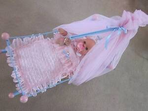 GORGEOUS ZAPF CREATIONS BABY CHOU DOLL DRESSED, CRADLE, COT, BEDD Carrum Kingston Area Preview