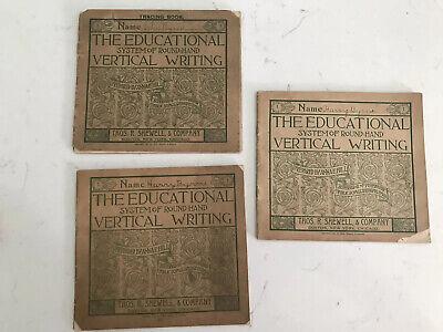 3 Vintage Victorian Writing Penmanship Exercise Writing Practice Books 1897