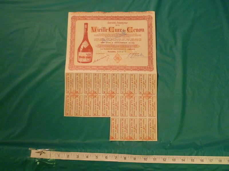 1952 FRENCH VIEILLE CURE DE CENON BORDEAUX STOCK/BOND CERTIFICATE -FREE US SHIPN