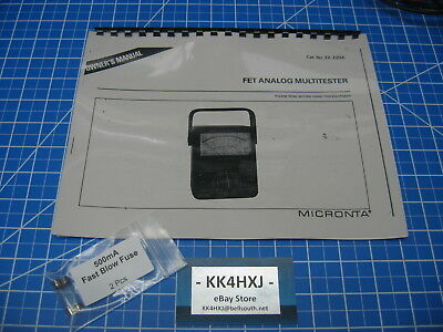 Instruction Manual - Radio Shackmicronta 22-220a Fet Analog Multitester Wfuses