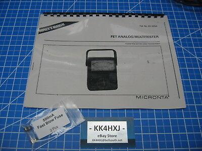 Instruction Manual - Radio Shackmicronta 22-220a Fet Analog Multitester Wfuses