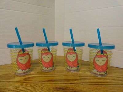 Clear Tumblers With Lid And Straw (FOUR 16 oz Acrylic Tumblers--clear with bird/owl décor, lid and straw--BRAND)