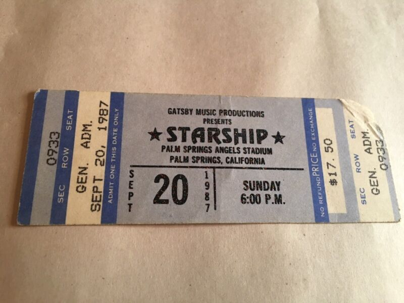 JEFFERSON STARSHIP Concert Ticket Stub September 20,1987 PALM SPRINGS CALIFORNIA