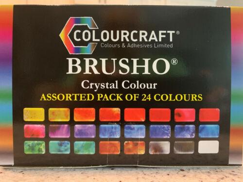 BRUSHO BY COLOURCRAFT BRU85001  BRUSHO CRYSTAL COLOR SET 24 COLOR,  NEW