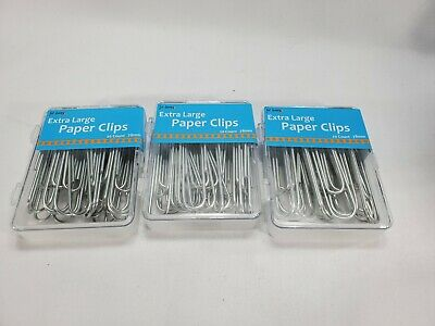 Heavy Duty Paper Clips Extra Large 3 Silver 60 Count. 3 Boxes Of 20 Count