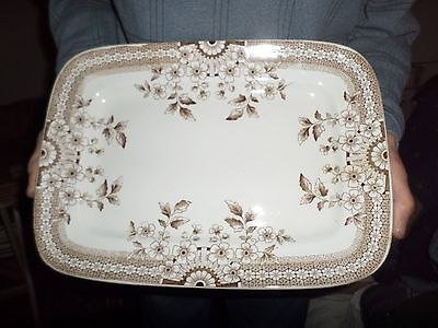 """Antique Foley A F & Co 14"""" PLATTER Brown Aesthetic Staffordshire Crown #20"""