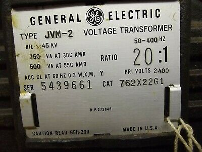 General Electric Potential Transformer 2400-120 Type Jvm-2