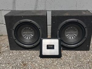 """2 12"""" Pioneer Subs + Amp (Trade for canoe)"""