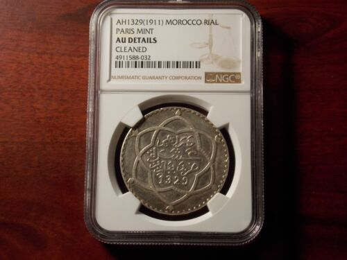 AH1329 1911 Morocco Rial large silver coin NGC AU