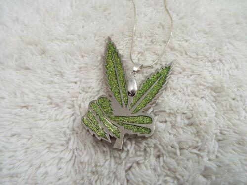 Silvertone Green Peace Sign Marijuana Leaf Pendant Necklace (A12)
