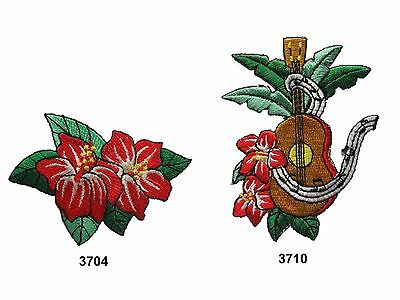Crimson Embroidery - Red Hibiscus Rosa-Sinensis L. Flower,Guitar Embroidery Iron On Applique Patch