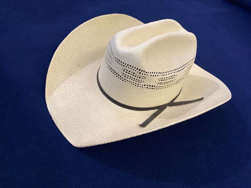 Vintage Dallas Hats Cowboy Hat Beige Straw Western Cowboy Size 7 USA 56 MEX Used