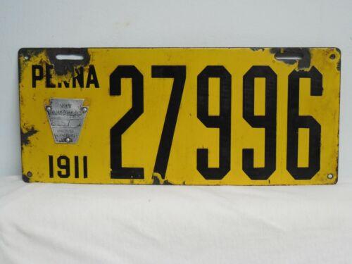 1911 Pennsylvania Porcelain License Plate PENNA PA