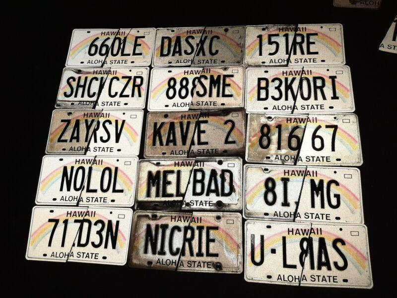 """Lot (200) """"1/2 CUT"""" Hawaii Aloha State Personalized License Plates Collectible 2"""