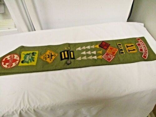 """Vintage  BSA Boy Scouts of America 30"""" Long Sash-Various Badges Pins Patches"""
