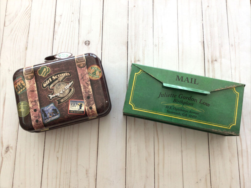 Lot 2 TWO GIRL SCOUT TINS- MAILBOX & 2017 ASHDON FARMS EXCELLENT CONDITION