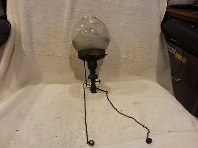 Antique brass  GAS LAMP GLOBE light steam punk