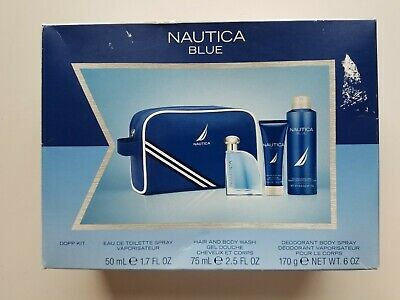 Nautica Blue Dopp Kit Cologne (1.7 oz) Body Wash (2.5 oz) Deodorant Spray (6 oz)