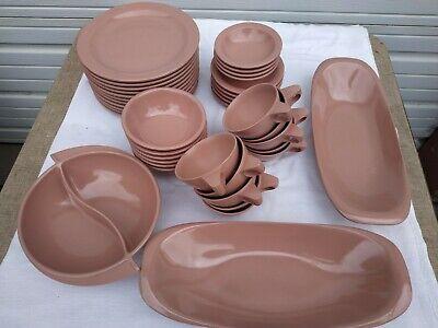 melamine Boontonware Cups Bowls Plates Servers Melamine Huge Lot 40 PIECES Pink