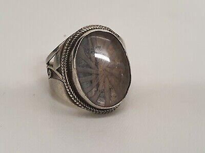 Sterling Silver 925 Ring Large Stone Size S-T