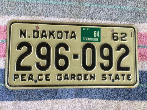 1962 1964 North Dakota License Plate 296 092