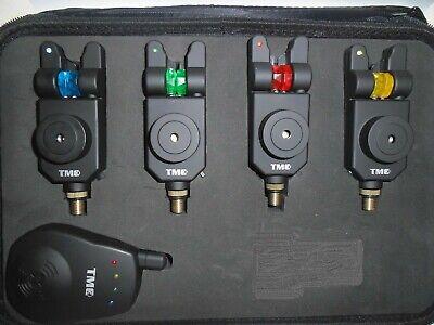 4 x TMC Mag Roller wireless Bite Alarms, Receiver, Case. Mufflers, LED, Carp,