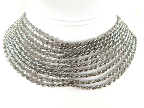ANTIQUE EDWARDIAN 10 Strand Twisted Cut Steel Graduated Drape Necklace Choker