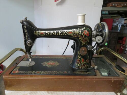 Vintage Singer Sewing Machine Red Eye Model 66 Tested Working Bentwood Case 1910