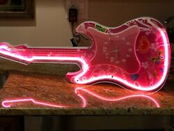 Neon Pink Guitar Design Wall Clock 29 x 10 White/Pink N-0012-N