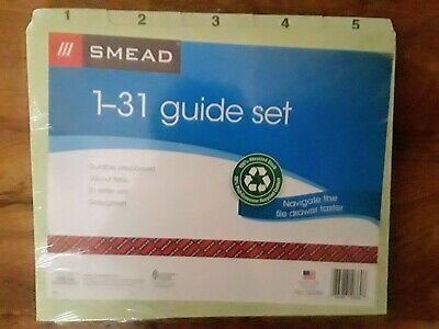 Smead 50369 File Guides 15 Tab Daily 1-31 Pressboard Letter Set New