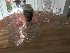 Crystal, and portmeirion vase