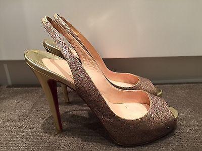 Christian Louboutin Glitter And Gold Platform Peeptoe Slingback Heels Size 39