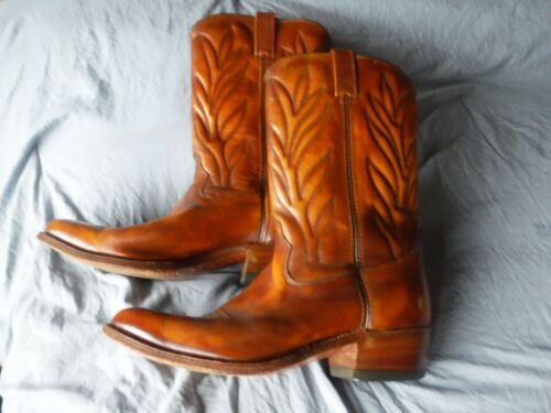 Mens 12 D Double H Boots Leather Cowboy Boots Pre Owned