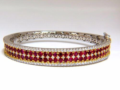 8.00ct Natural Round Cut Ruby Diamonds Bangle Bracelet 14kt+
