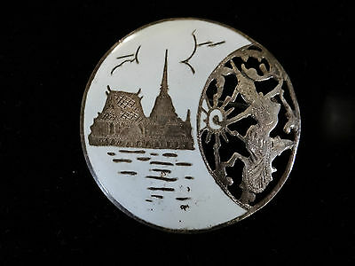 SIAM STERLING SILVER  BROOCH PIN WHITE ENAMEL SIAM CITY GODDESS DANCER