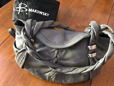 B. Makowsky Gray Soft Leather Double Braided Handle Shoulder Purse Handbag
