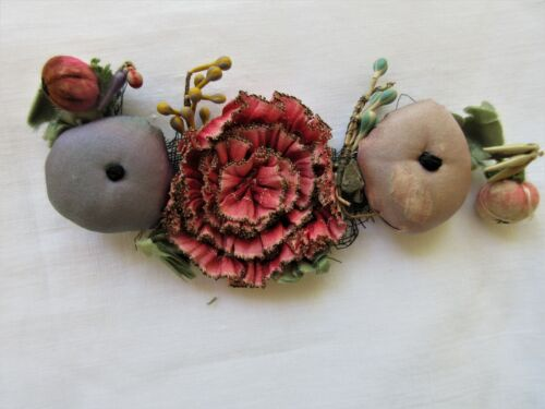 ANTIQUE FRENCH SILK OMBRE RIBBON ROSETTE. BERRIES & FLOWERS