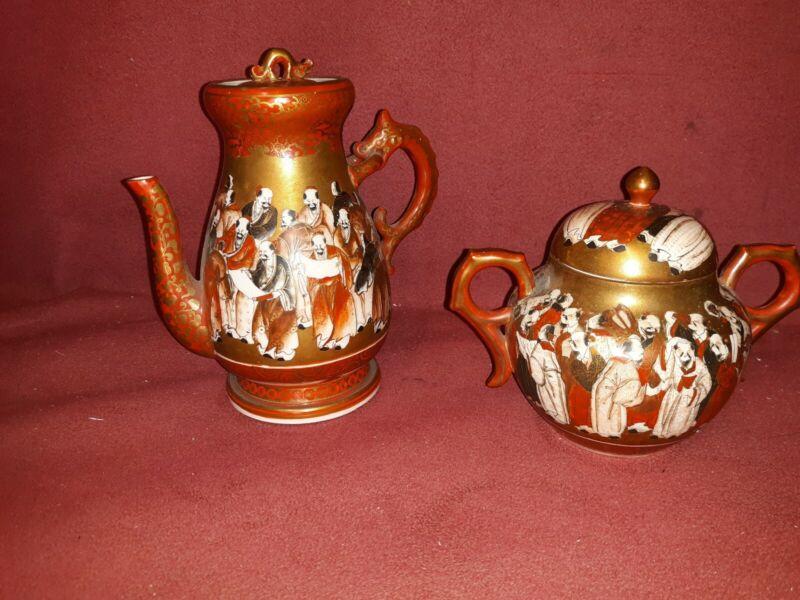 Fine Antique Japanese Kutani Porcelain Teapot and Bowl