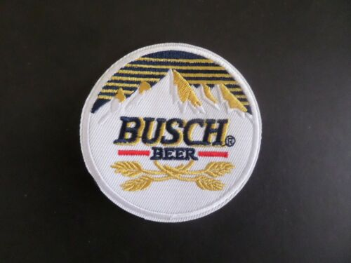 """BUSCH"""" BEER""""YELLOW & WHITE EMBROIDERED IRON ON PATCHES 3 X 3"""